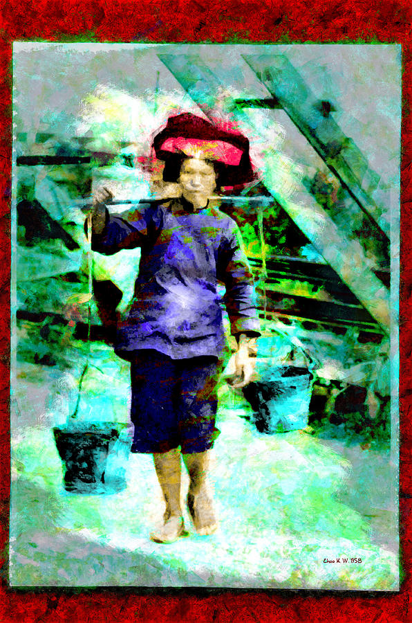 Samsui Woman at Work - Builders of the Nation Series by Choo KW