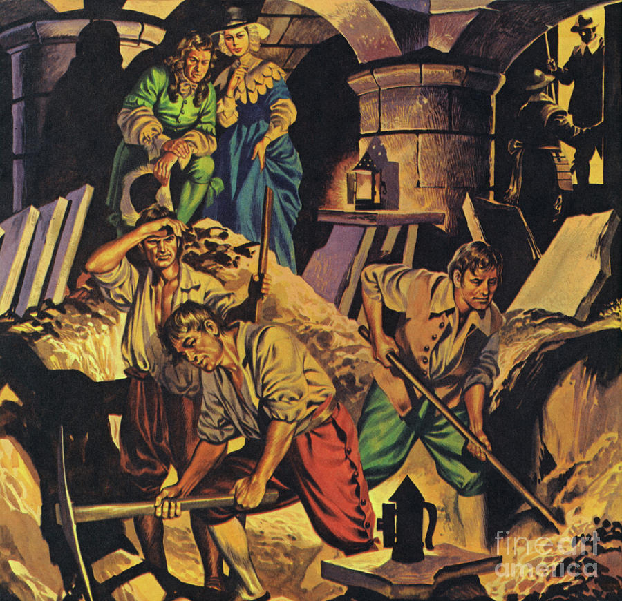 Pepys Painting - Samuel Pepys Searching For A Hoard Of Money Supposedly Hidden In The Tower Of London by Angus McBride
