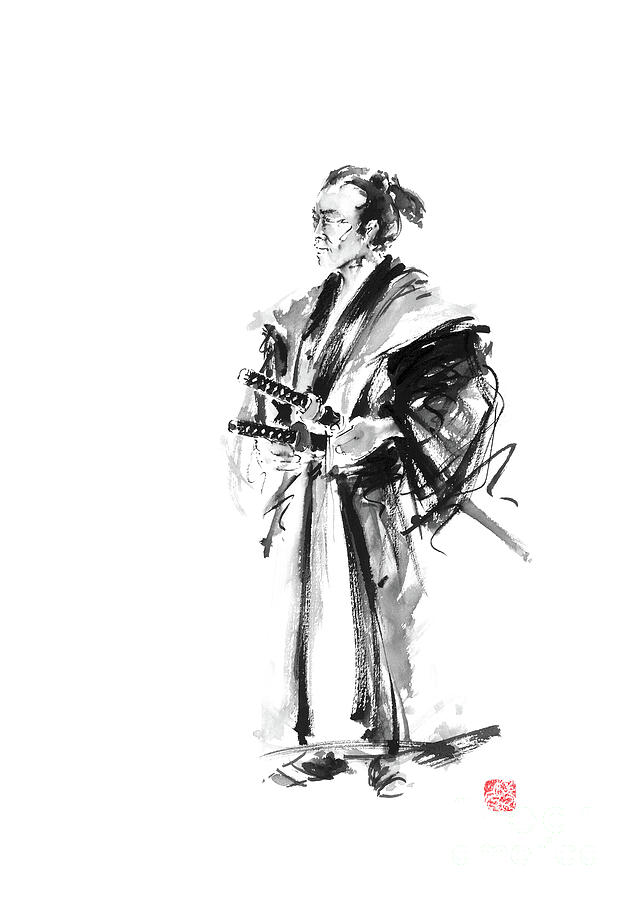 Samurai Poster Painting - Samurai Poster Bushido Japanese Art Samurai Warrior Japanese Sword by Mariusz Szmerdt
