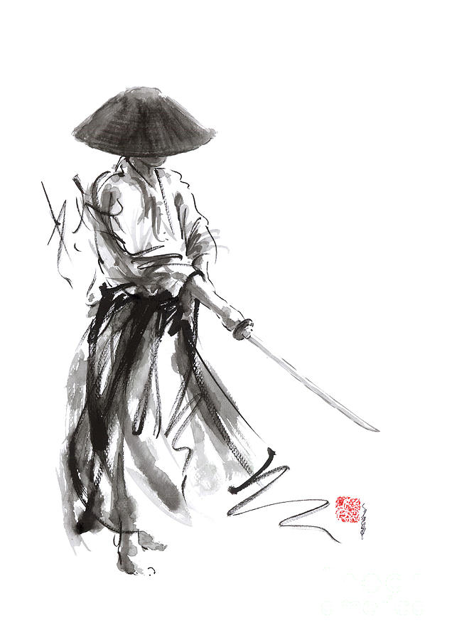 Samurai Warrior Painting - Samurai Warrior Ronon Japanese Katana Bushido Kode by Mariusz Szmerdt