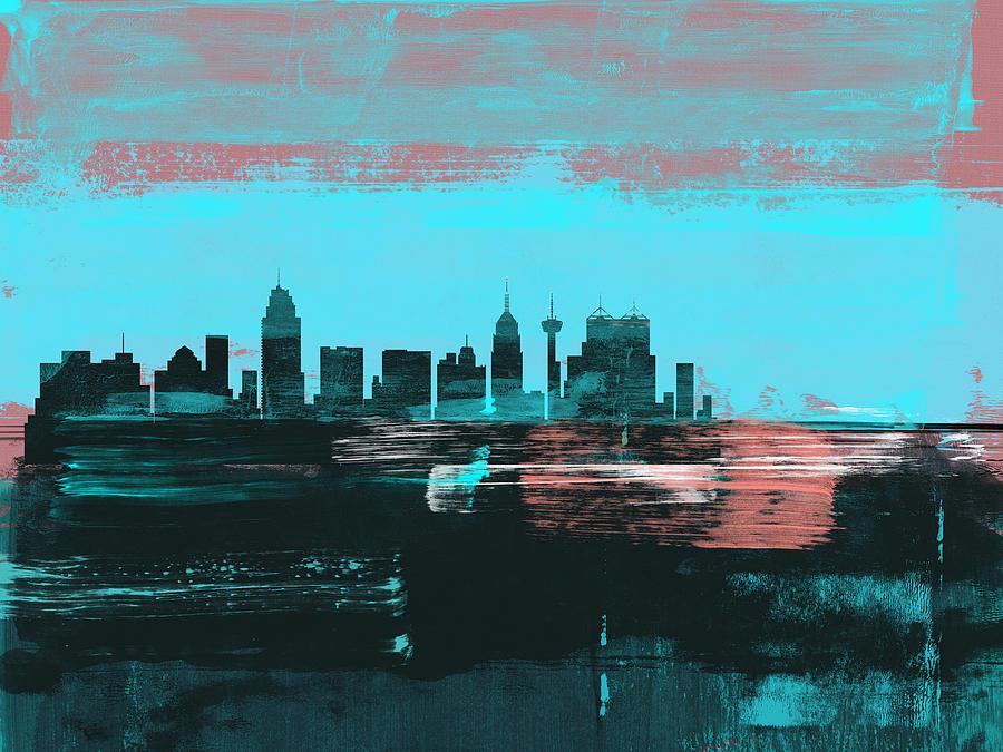 San Antonio Mixed Media - San Antonio Abstract Skyline II by Naxart Studio