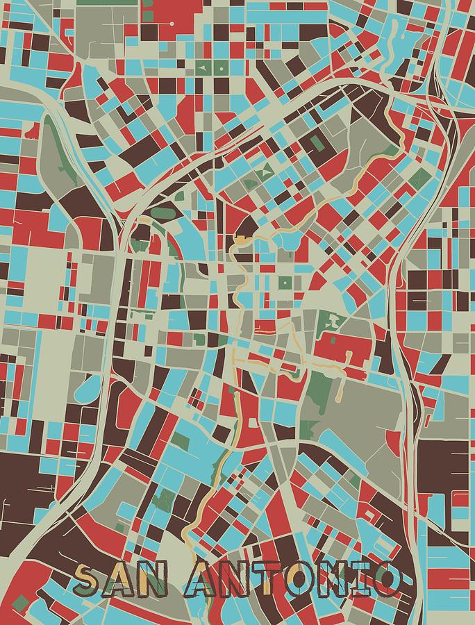 San Antonio Digital Art - San Antonio Map Retro 3 by Bekim M