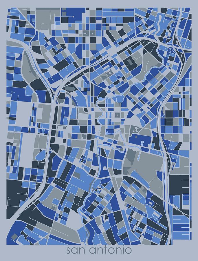 San Antonio Digital Art - San Antonio Map Retro 5 by Bekim M
