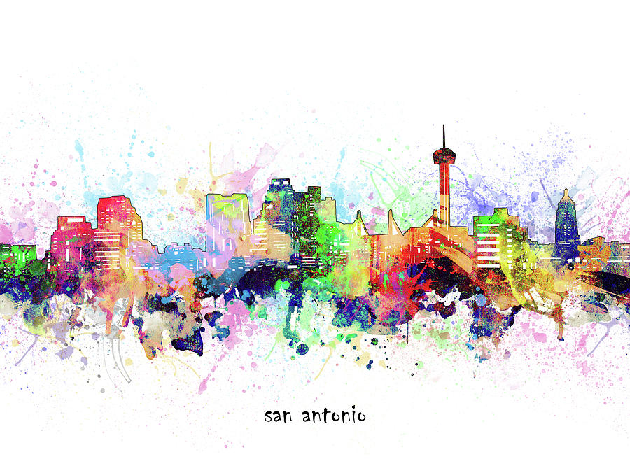 San Antonio Digital Art - San Antonio Skyline Artistic by Bekim M