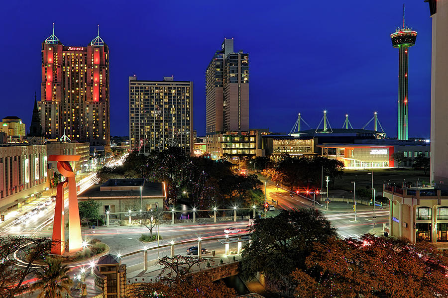 San Antonio Skyline at Christmas - Torch of Friendship - Texas by Jason Politte