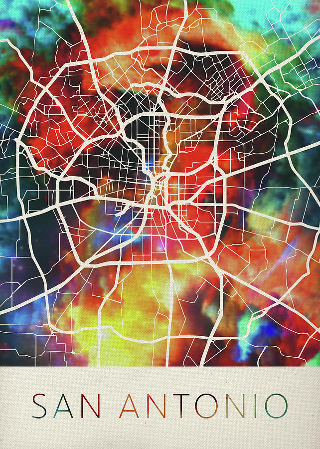San Antonio Texas Usa Watercolor City Street Map