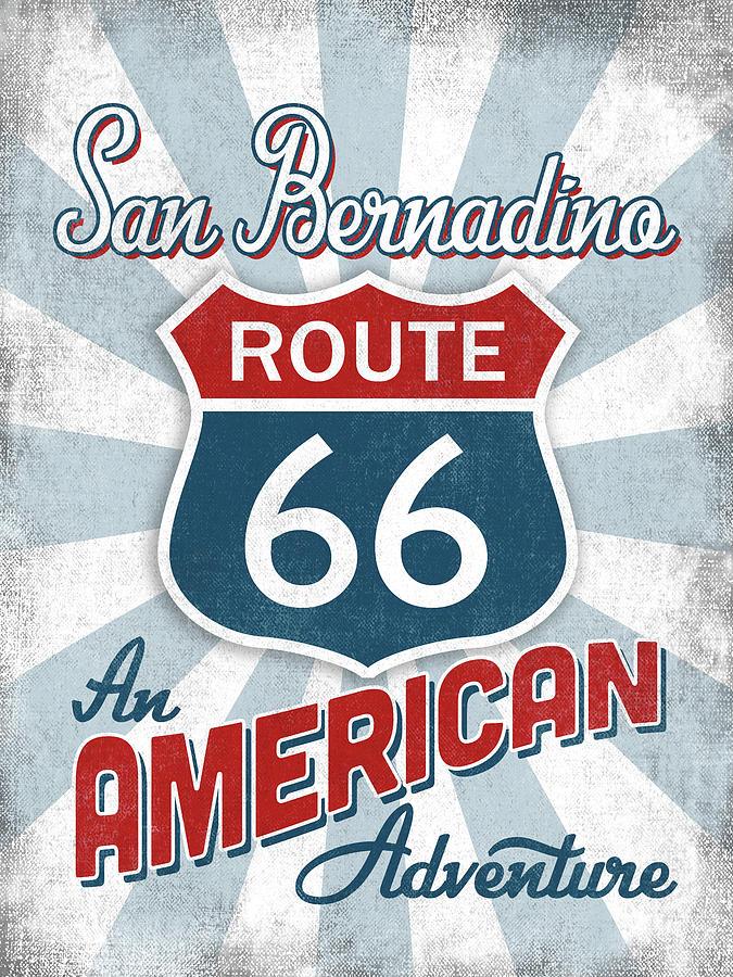 San Bernadino Digital Art - San Bernadino Route 66 America by Flo Karp