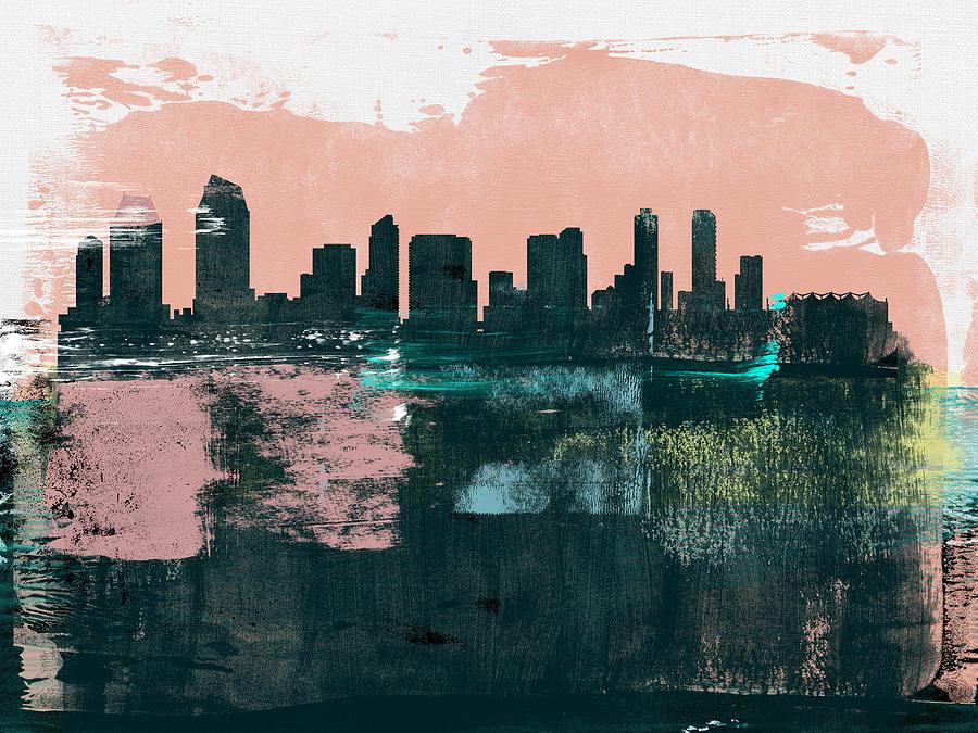 San Diego Mixed Media - San Diego Abstract Skyline I by Naxart Studio