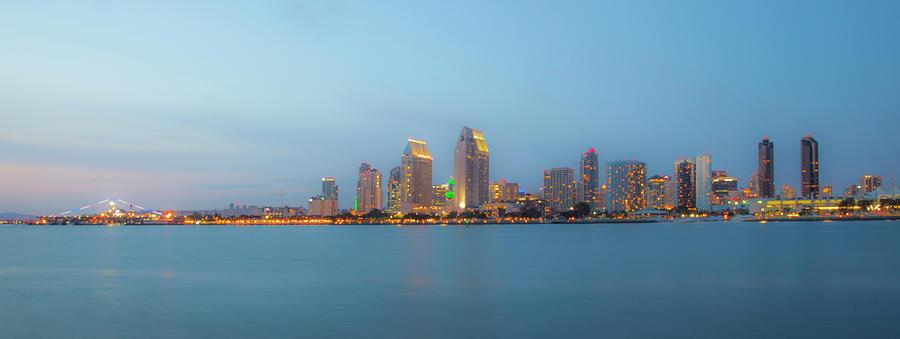 City Lights Photograph - San Diego California Skyline At Sunset From Coronado Island by Catherine Walters