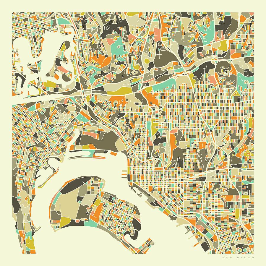 San Diego Digital Art - San Diego Map 1 by Jazzberry Blue