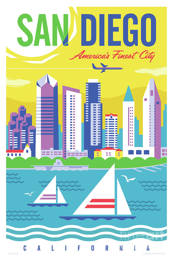 Mid Century Modern Digital Art - San Diego Poster - Retro Travel  by Jim Zahniser