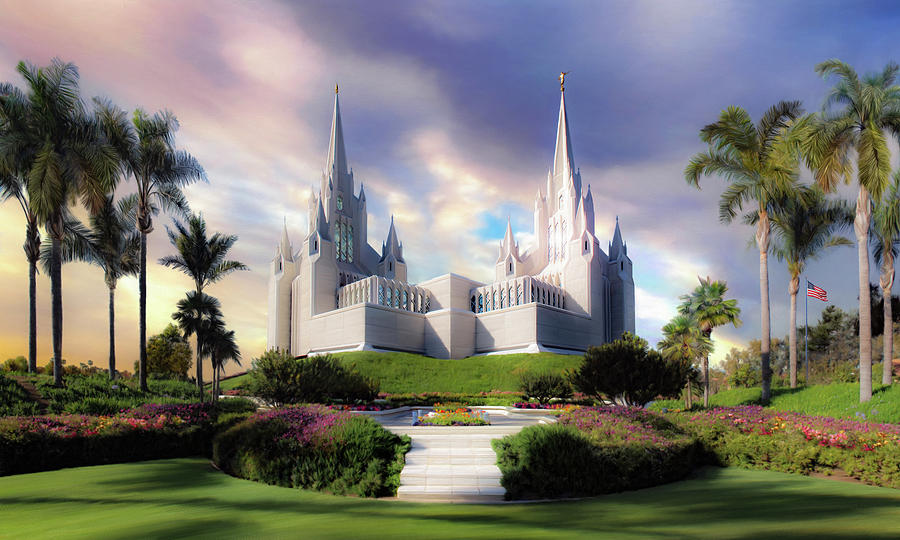 San Diego Painting - San Diego Temple by Brent Borup