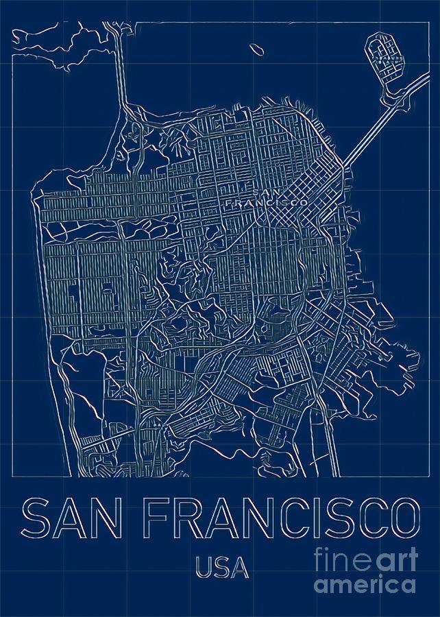 San Francisco Blueprint City Map Digital Art by HELGE Art Gallery