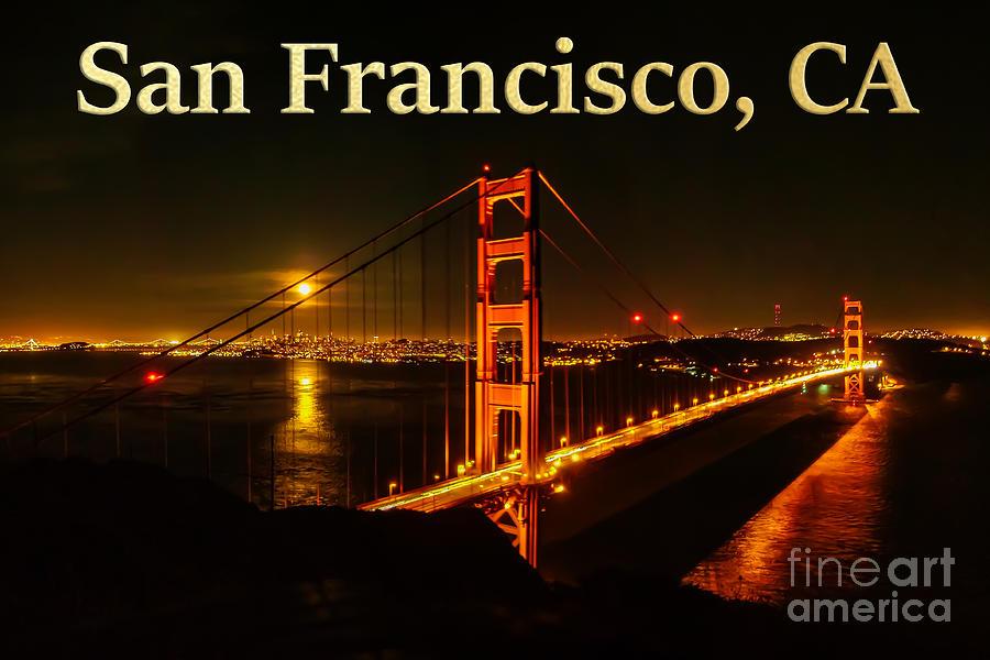 San Francisco Photograph - San Francisco CA Golden Gate Bridge at Night by G Matthew Laughton
