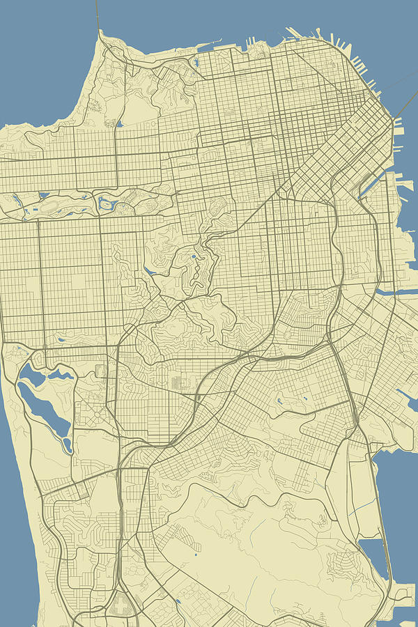 San Francisco California Usa Classic Map Digital Art by Jurq Studio