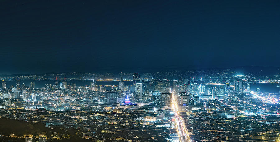 San Francisco Cityscape At Night Photograph by Chinaface