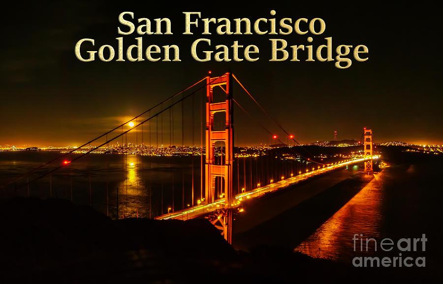 San Francisco Photograph - San Francisco Golden Gate Bridge at Night by G Matthew Laughton