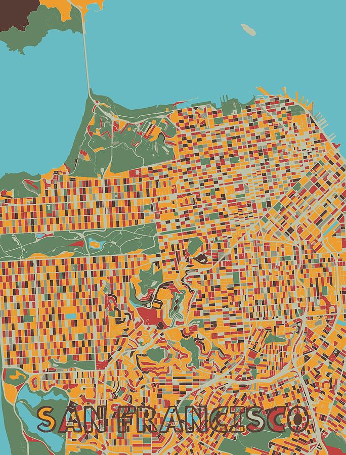 San Francisco Map Retro Digital Art