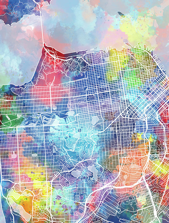 San Francisco Digital Art - San Francisco Map Watercolor by Bekim M