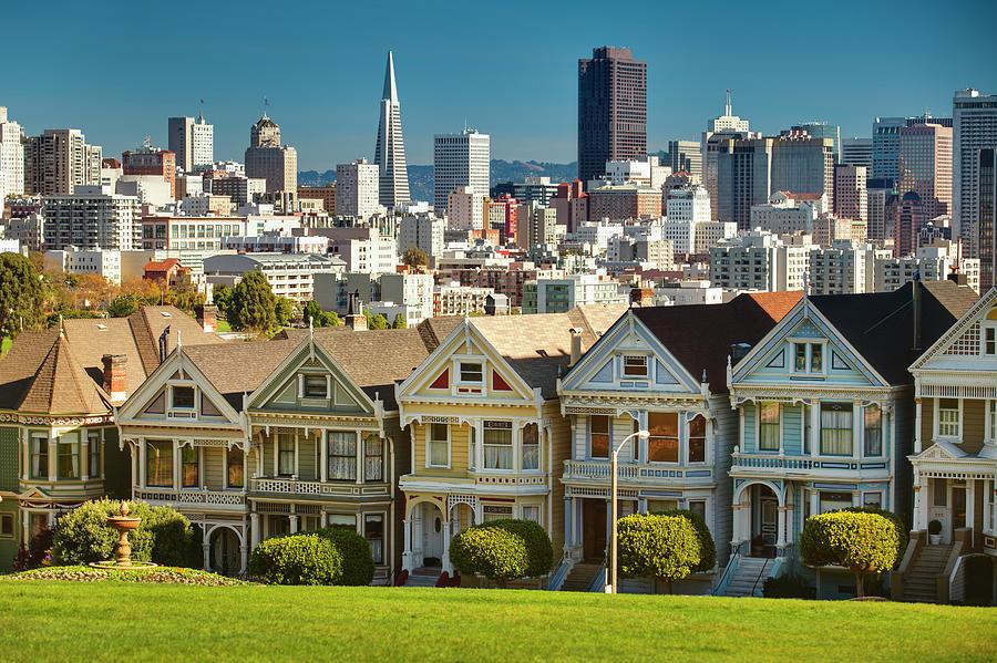 San Francisco Postcard Row Skyline Photograph by Pgiam