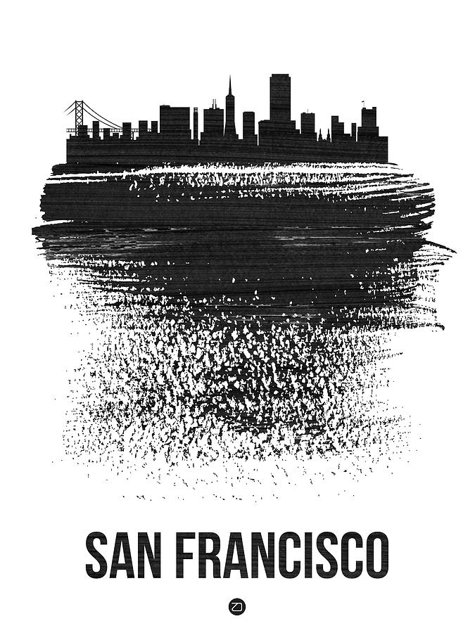 San Francisco Mixed Media - San Francisco Skyline Brush Stroke Black by Naxart Studio