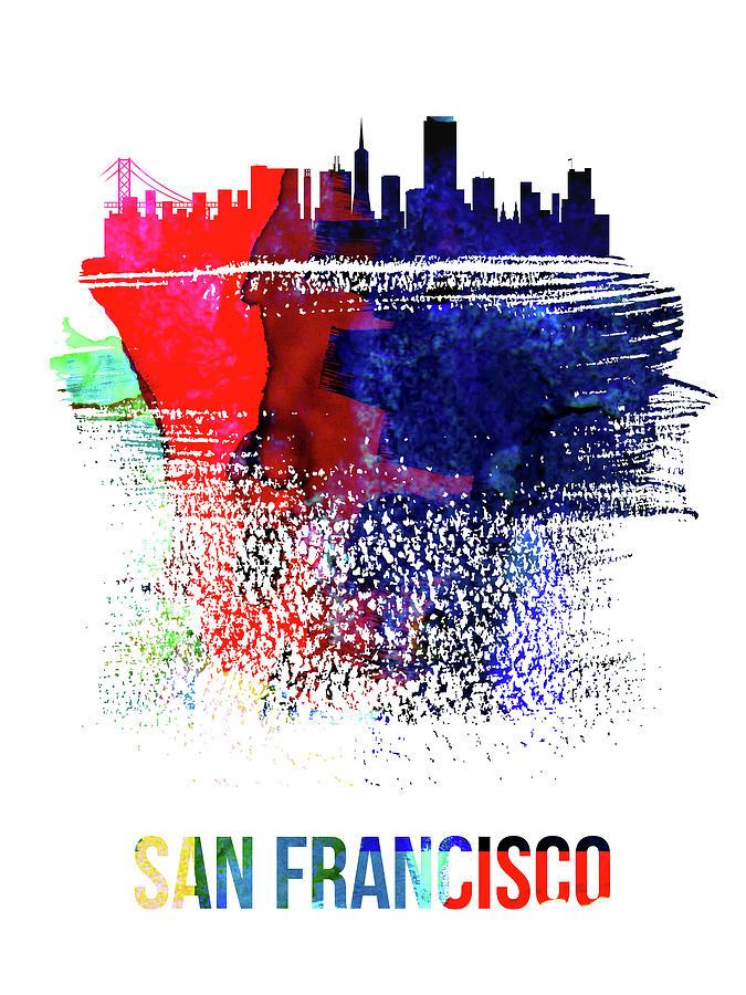 San Francisco Mixed Media - San Francisco Skyline Brush Stroke Watercolor   by Naxart Studio