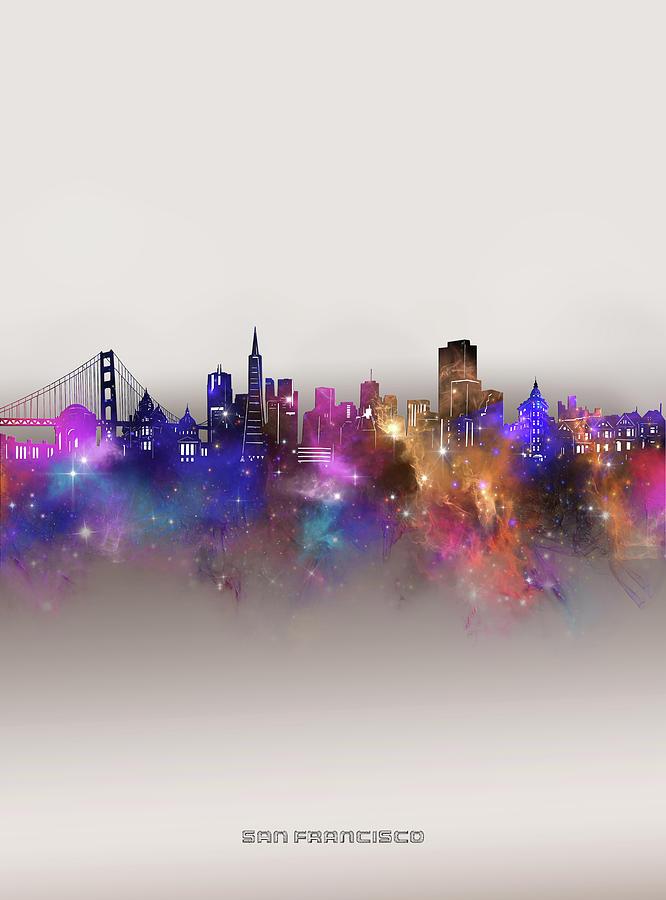 San Francisco Digital Art - San Francisco Skyline Galaxy by Bekim M