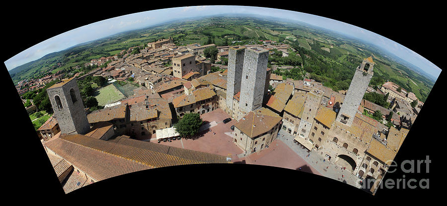 San Gimignano city and panoramic landscape viewed from top of to by Adam Long