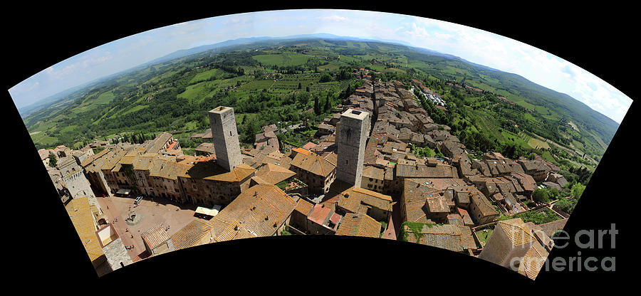 San Gimignano Italy panoramic landscape viewed from top of to by Adam Long