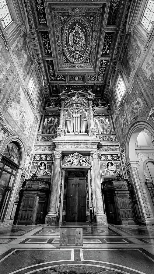 San Giovanni In Laterano Interior Rome Italy BW by Joan Carroll