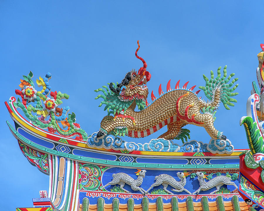 San Jao Phut Gong Dragon Goat on Dragon Roof DTHU0723 by Gerry Gantt