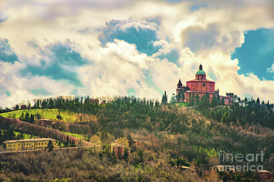 San Luca basilica in Bologna  hills with the long porch archway - Italy by Luca Lorenzelli