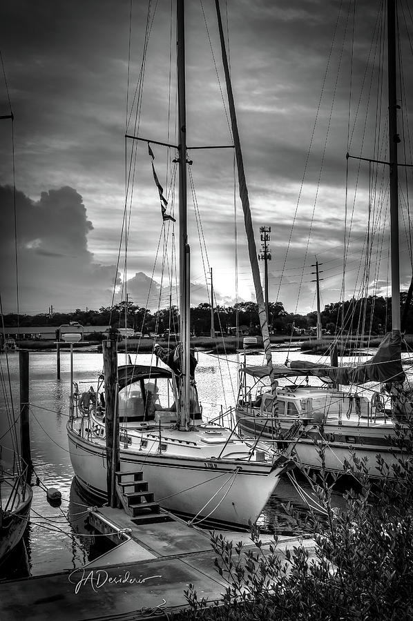 San Sebastian River Monochrome Sailboat Sunset by Joseph Desiderio