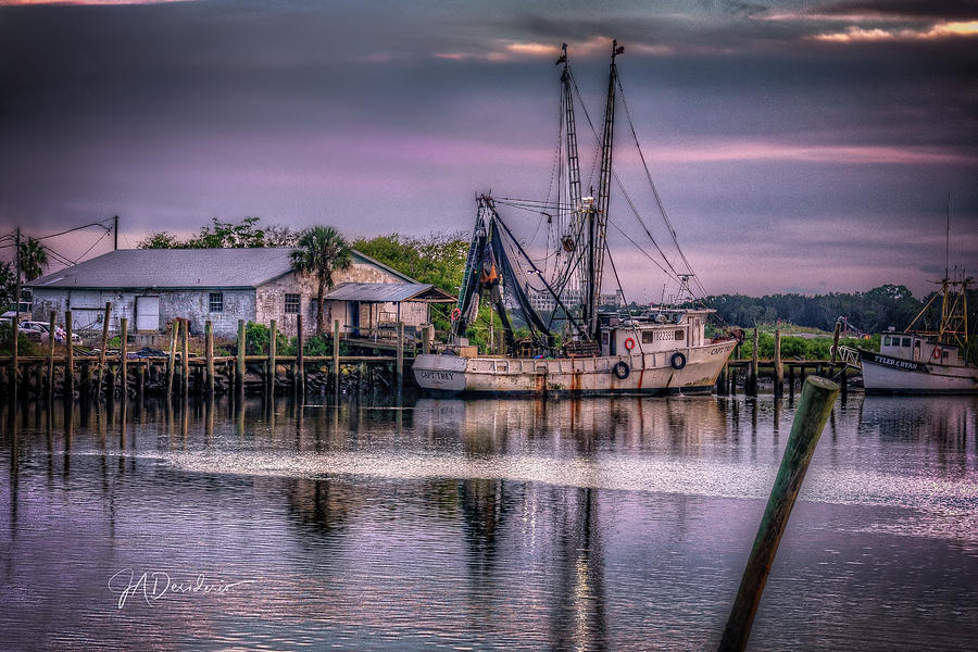 San Sebastian River Shrimp Boat Sunset by Joseph Desiderio