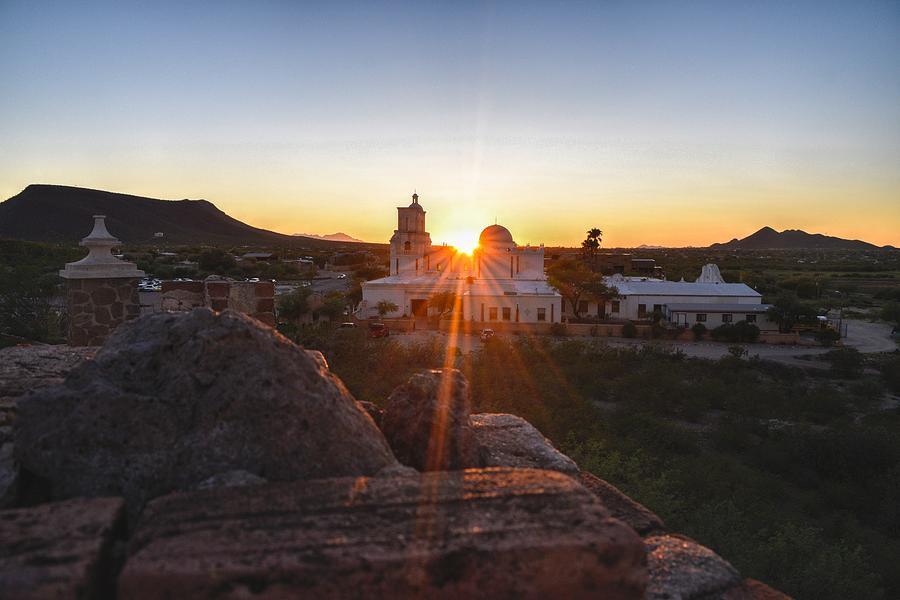 San Xavier Mission del Bac Sunset, Tucson, AZ by Chance Kafka