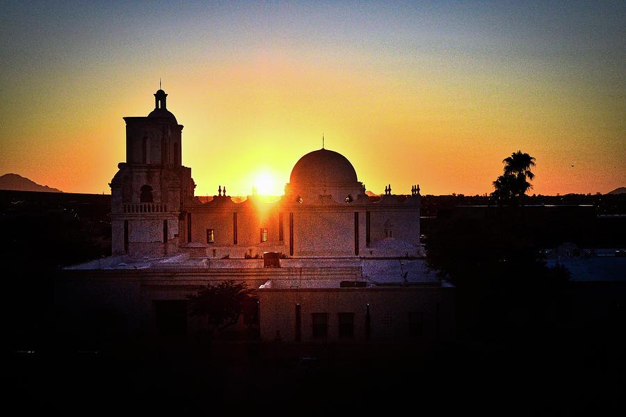 San Xavier Mission Silhouette  by Chance Kafka