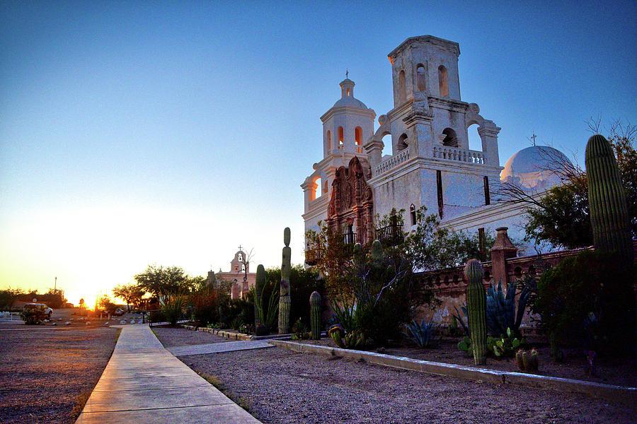 San Xavier Mission Sunset Mood by Chance Kafka