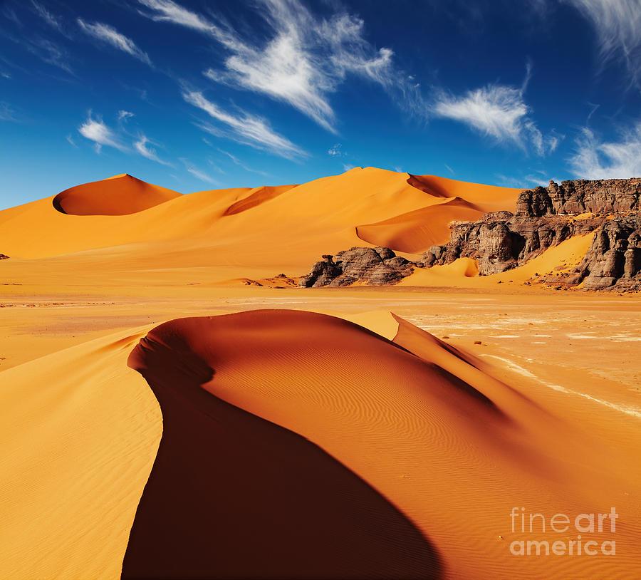 Heat Photograph - Sand Dunes And Rocks, Sahara Desert by Dmitry Pichugin