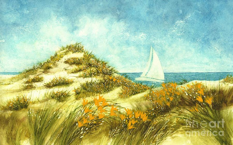 Sand Dunes and Sails on Assateague Island  by Janine Riley
