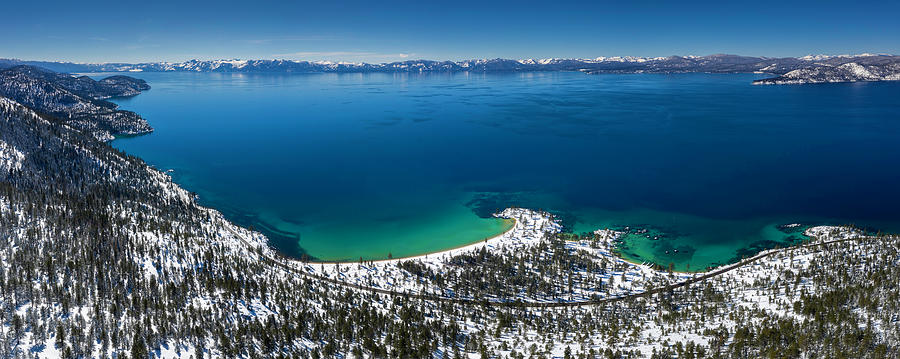 Sand Harbor Winter Aerial Panorama by Brad Scott