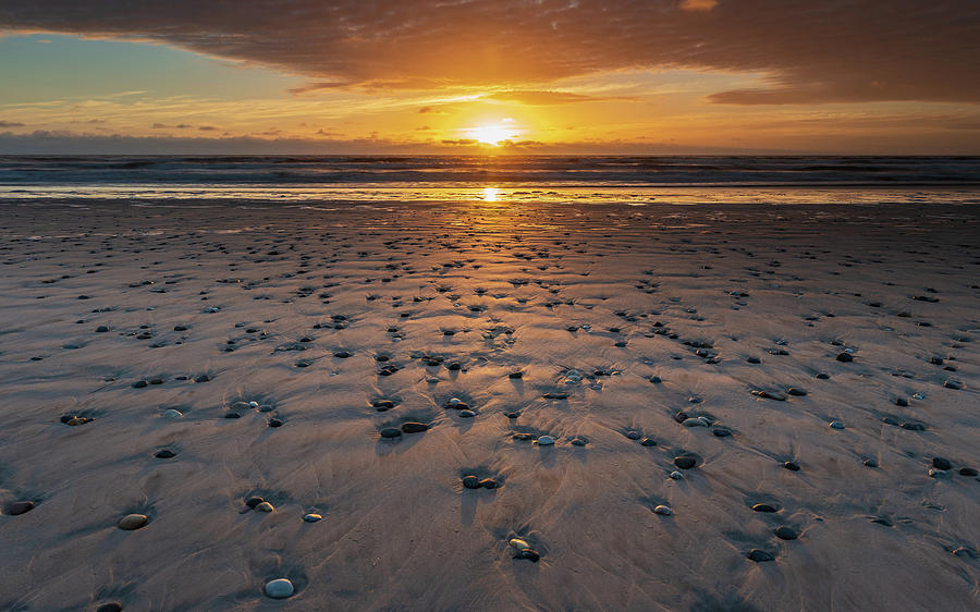 Sand Pebbles At Sunset Photograph
