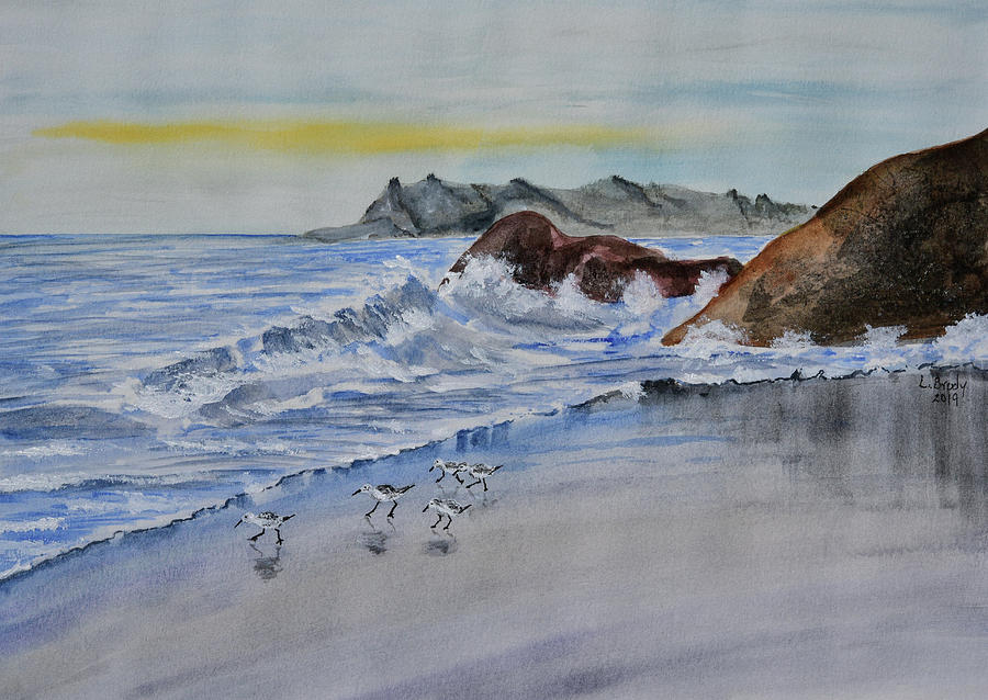 Sand Pipers on the Shore - Original by Linda Brody