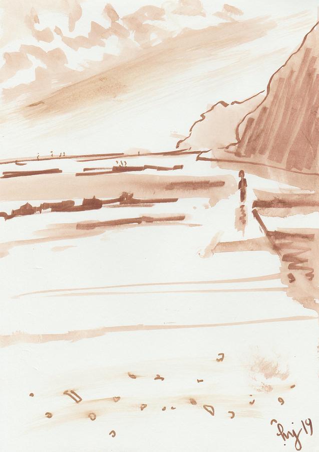 Sandy Bay beach in Devon sketch by Mike Jory
