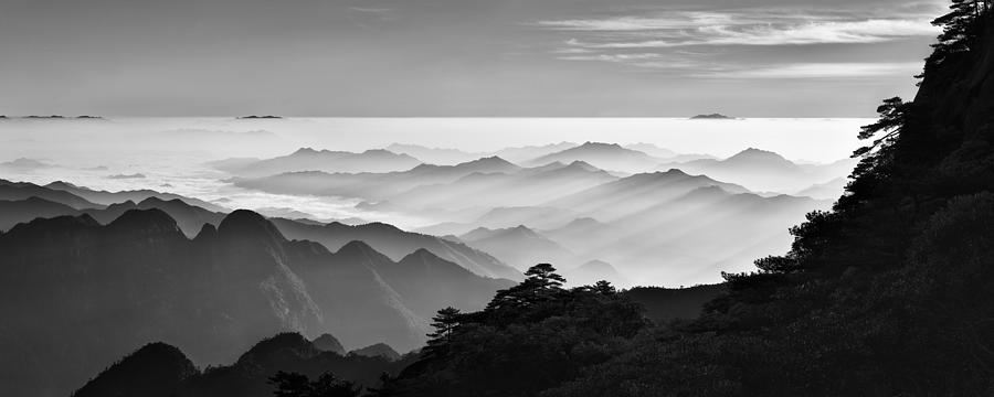 Panorama Photograph - Sanqing Mountain Sunrise by Mei Xu