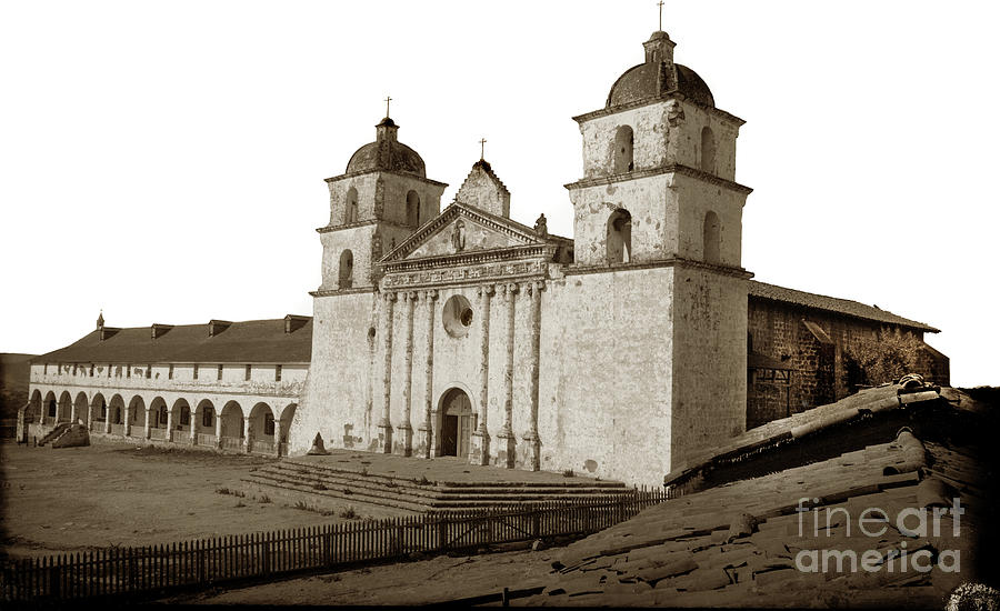 Santa Barbara  Mission from the roof of Majordomo's adobe Circa  by California Views Archives Mr Pat Hathaway Archives