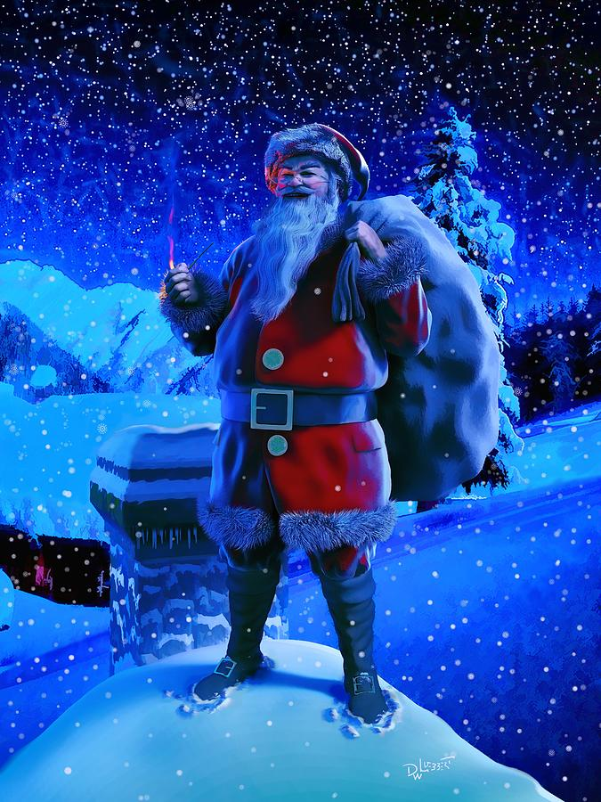 Santa By Chimney by Dave Luebbert