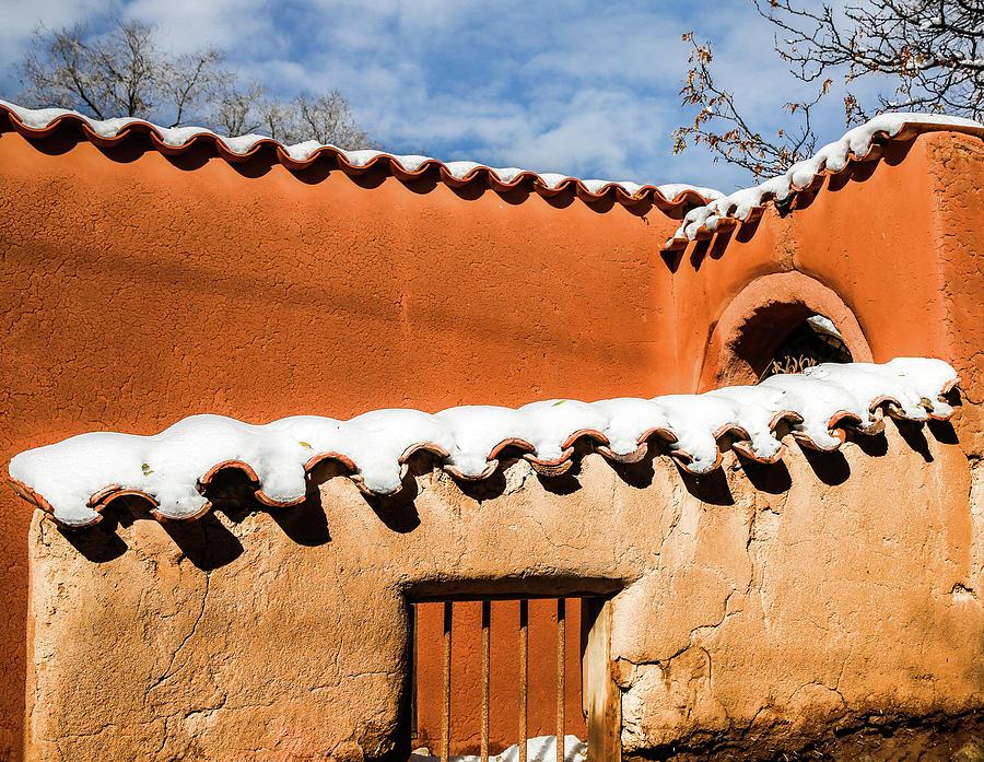Adobe Photograph - Santa Fe Abobe with Snow by Candy Brenton