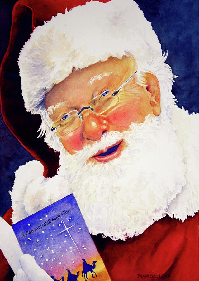 Santa Painting - Santa Knows by Brenda Beck Fisher