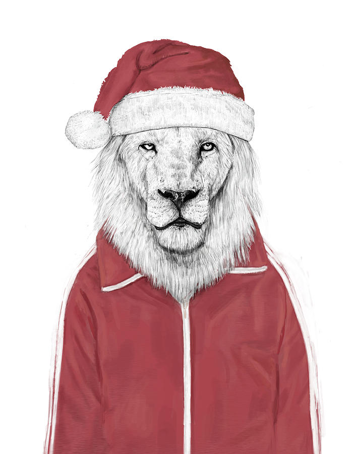 Lion Mixed Media - Santa lion  by Balazs Solti
