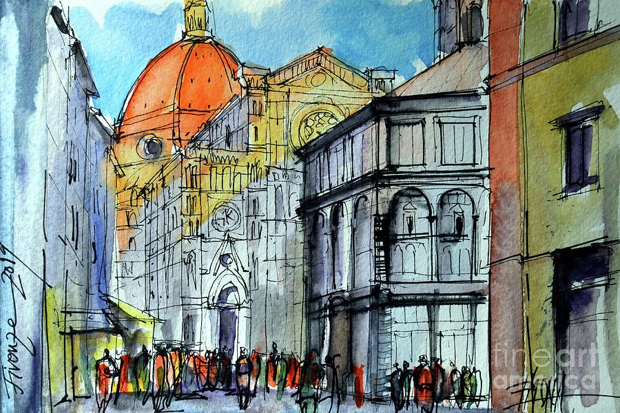Santa Maria del Fiore at Sunset Florence Sketch by Mona Edulesco